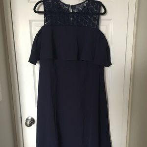 Cold shoulder navy dress